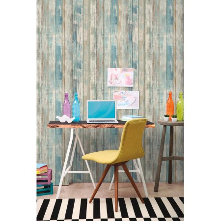 Buy Roommates Blue Distressed Wood Peel And Stick Wall