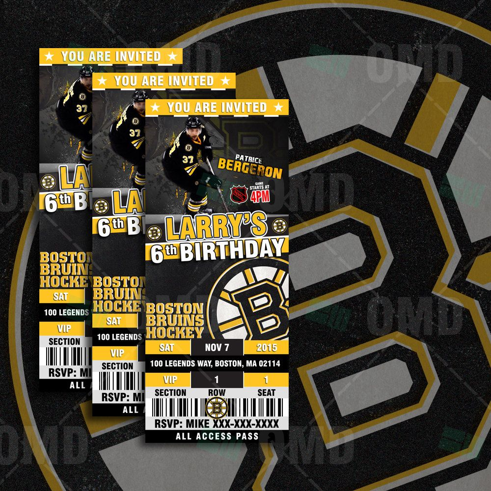 2.5x6 Boston Bruins Hockey Sports Party Invitation, Bruins Sports ...