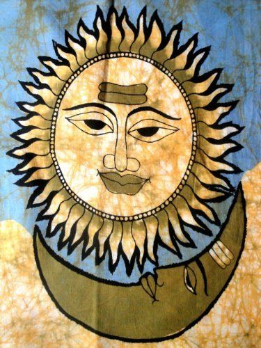 Sun And Moon Wall Decor indian traditional sun moon god surya chandra dev nature art batik