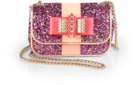 bd15d9bd163 CHRISTIAN LOUBOUTIN Purple Sweet Charity Glitter Mini Shoulder Bag ...