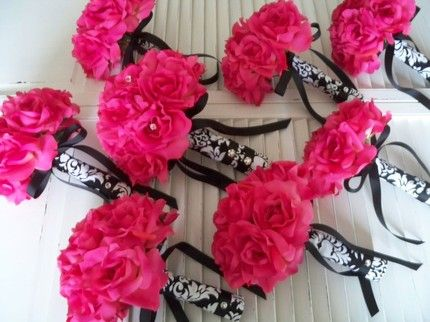 Pink Black And White Wedding Bridesmaid Bouquets