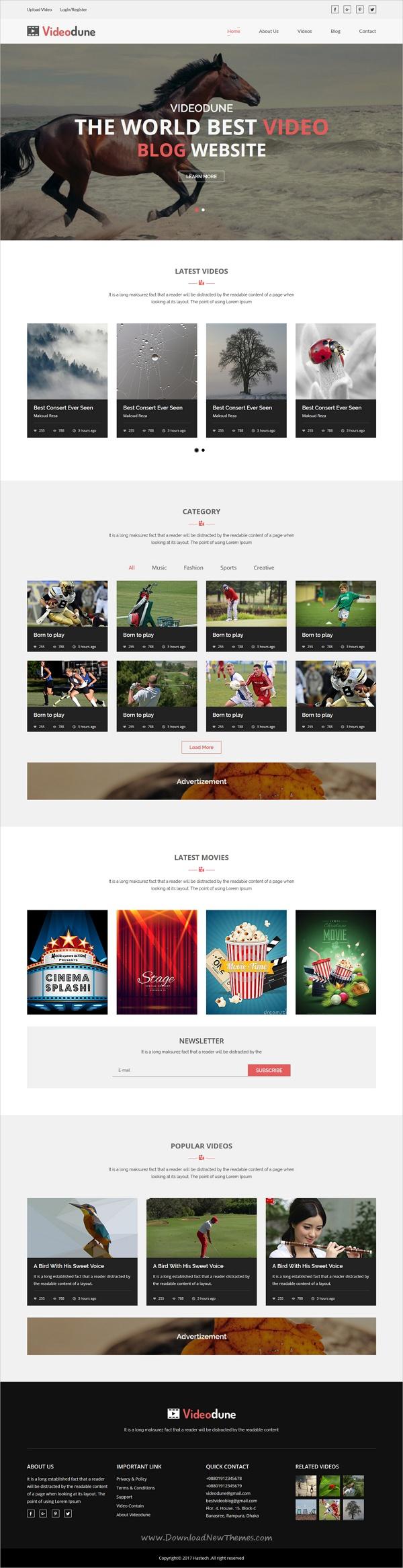 Videodune Video Blog Html Template Pinterest Template