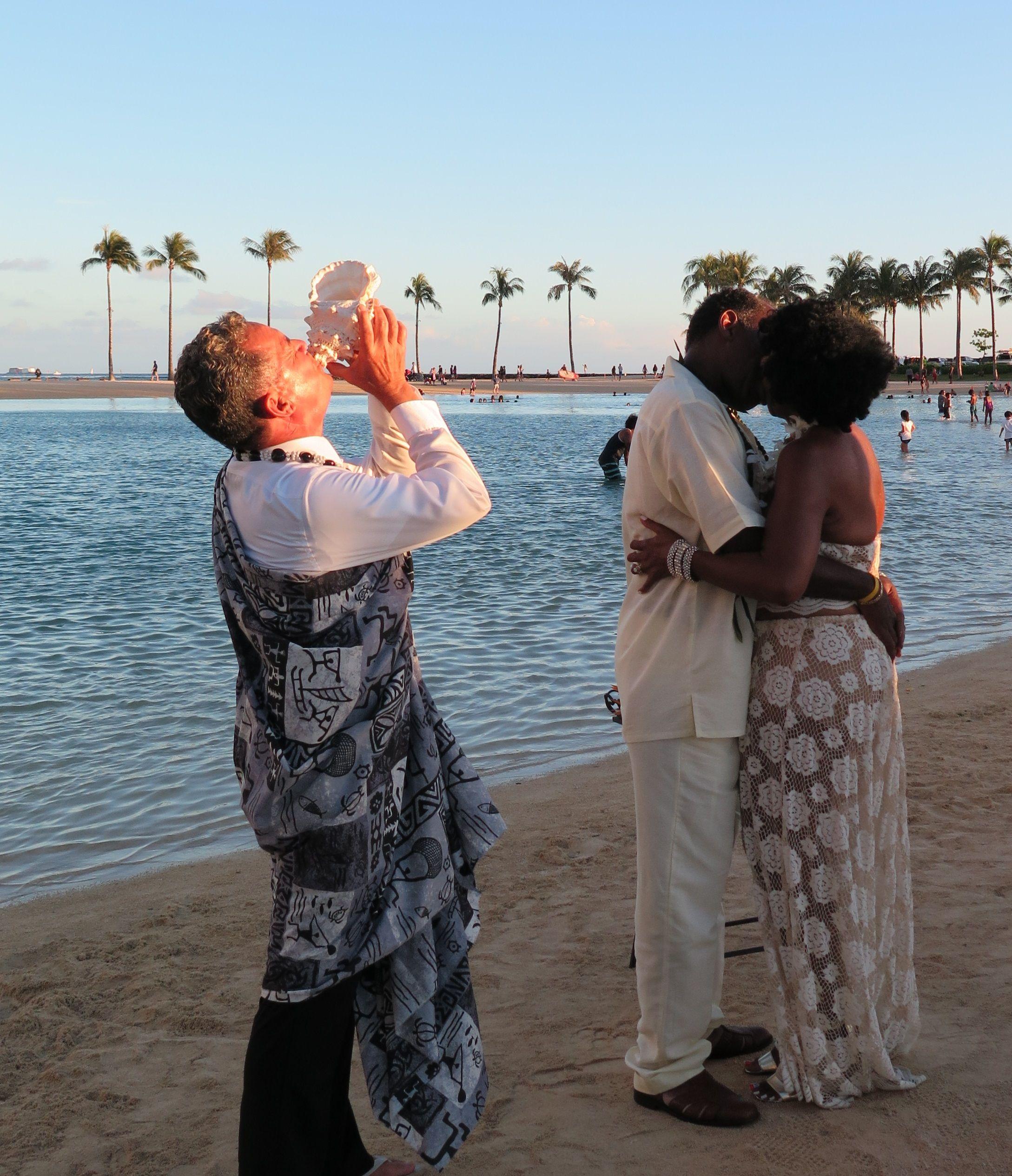 Waikiki Beach Wedding Ceremony: Hawaiian Ceremony Celebrating This 30 Year Vow Renewal In