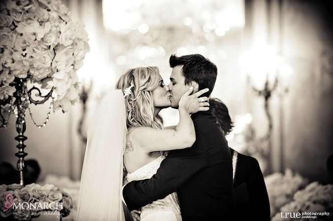 You may now kiss your beautiful bride - Finally their first #kiss as husband and wife! Wedding Planner: MONARCH WEDDINGS (www.monarchweddings.com)