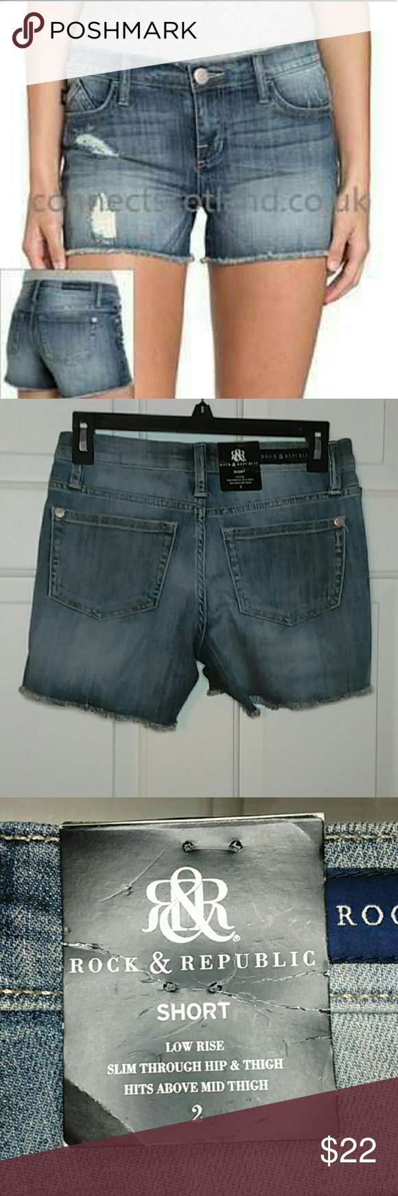 Rock & Republic distressed jean shorts Rock & Republic Hula Spirit Animal Destructed Jean Shorts. Low rise, slim thorough hip and thigh and the hem guys right above mid thigh. Rock & Republic Shorts Jean Shorts