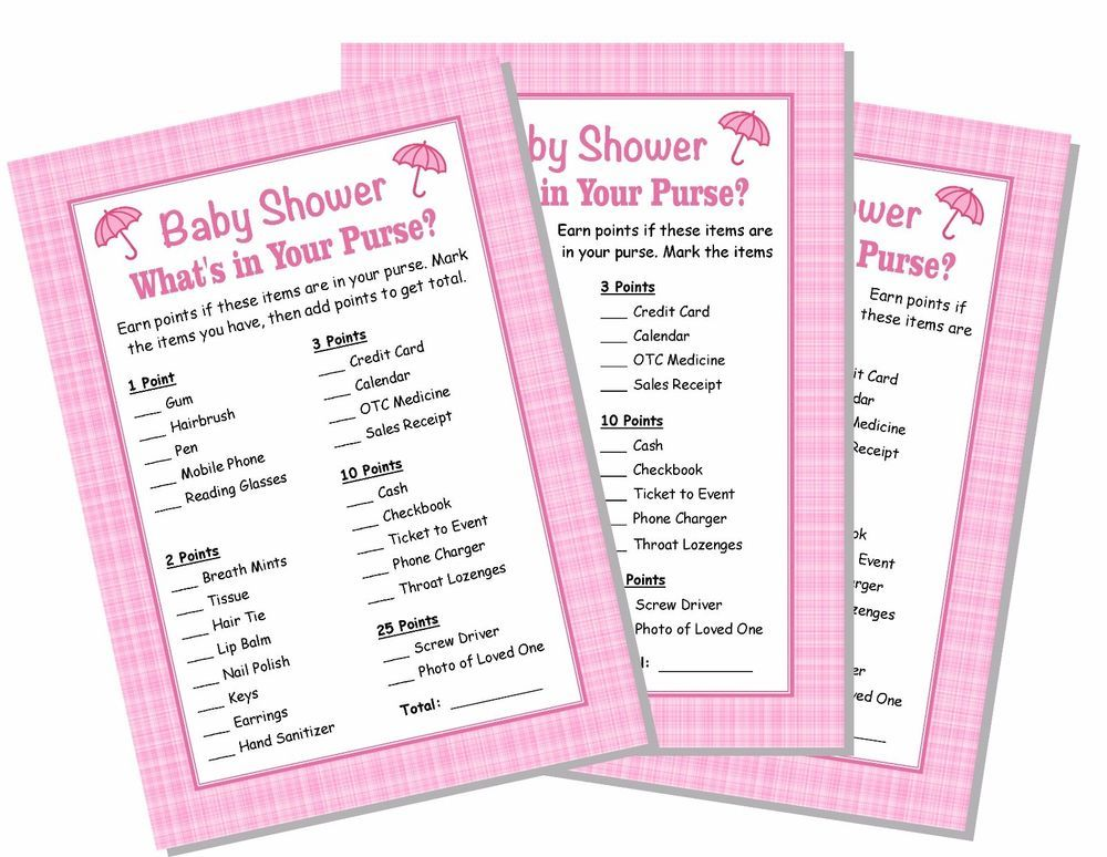 Details About 24 Baby Shower Games Girl Pink What S In Your Purse
