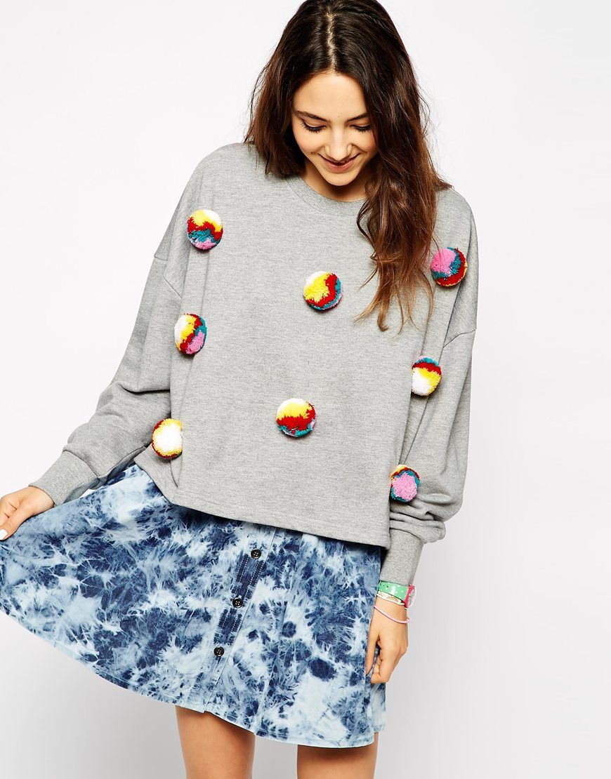 Easy to make pom pom jumper from Lyst. Just sew some of our exclusive  rainbow pom poms onto a shirt or sweater! 175658688