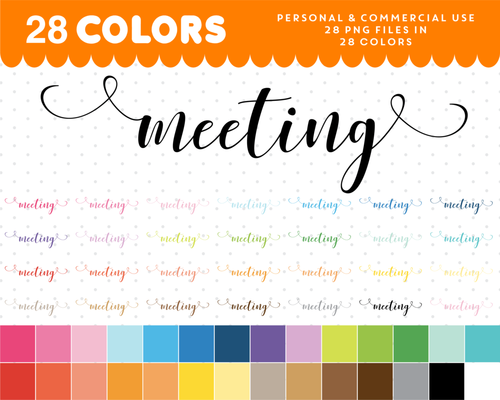 hight resolution of meeting script font clipart meeting text planner clipart cl 1055
