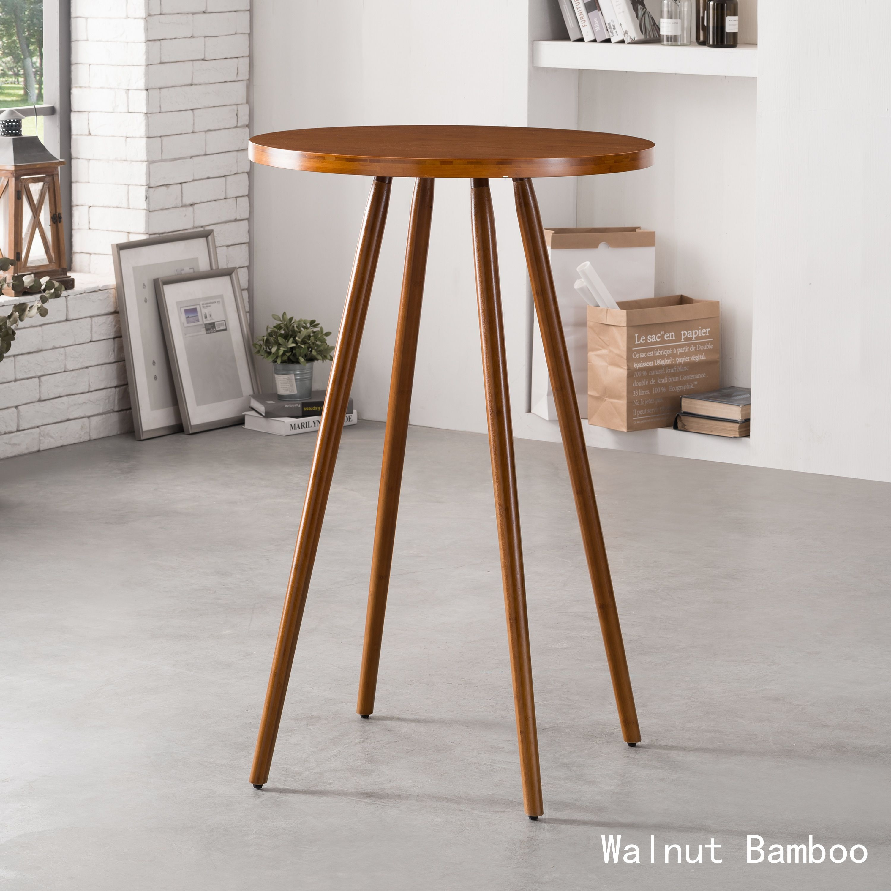 Corvus Lille Mid Century Bamboo High Top Table Archaize Beige Off