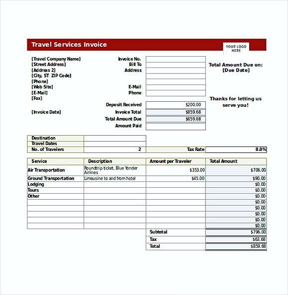 Travel Service Invoice templates , blank invoice template pdf , Why - blank invoice samples