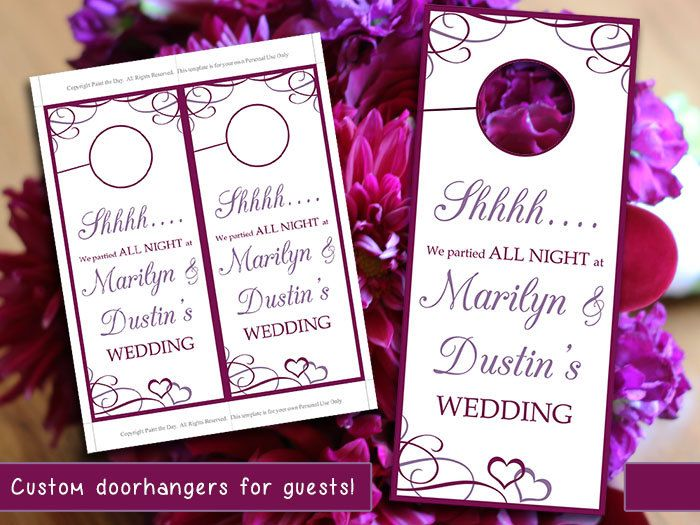 Heart Wedding Door Hanger Template  Welcome Bag Door Hanger