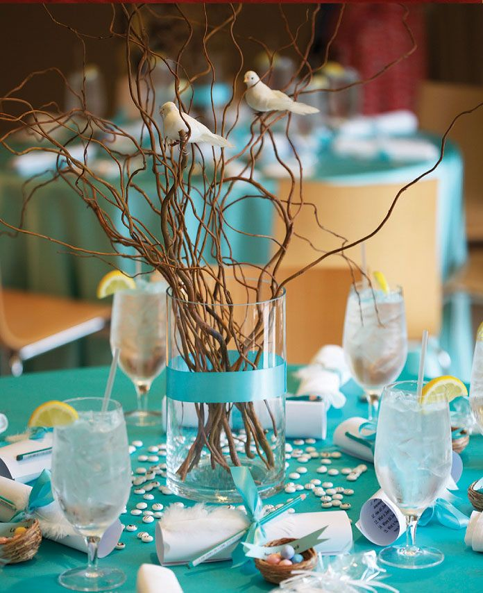 Tiffany Blue Wedding Decorations: Birds Perched On Curly Sticks With Tiffany Blue Linens