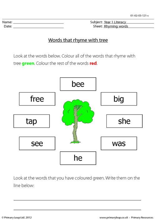 Rhyming words: English worksheet. Students are asked to look ...