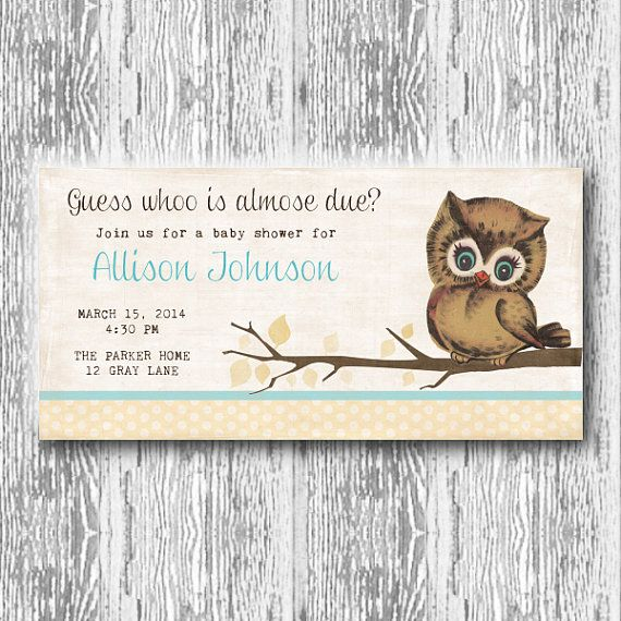 Vintage Owl Baby Shower Invitations: Vintage Owl Invitation For Baby Shower