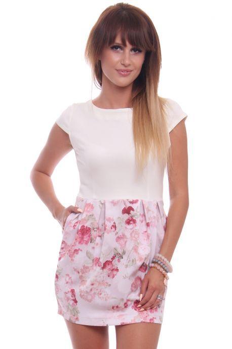 Sukienka Bombka Rozowo Ecru Cm034 Sukienki Damskie Online Cosmosmoda Floral Skirt Fashion Floral