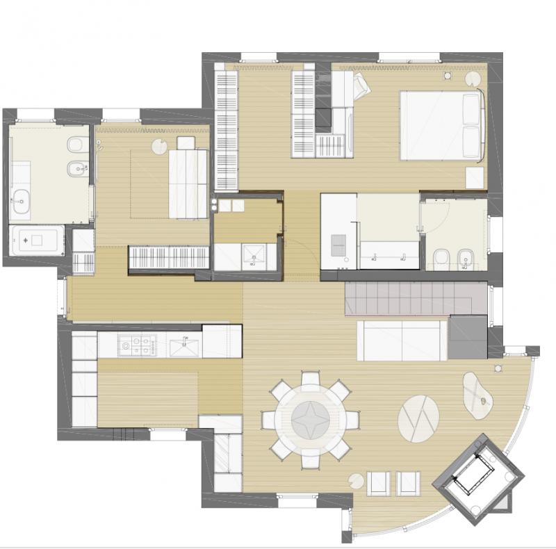 Casa luna piano terra buratti architetti rene for Piantine case