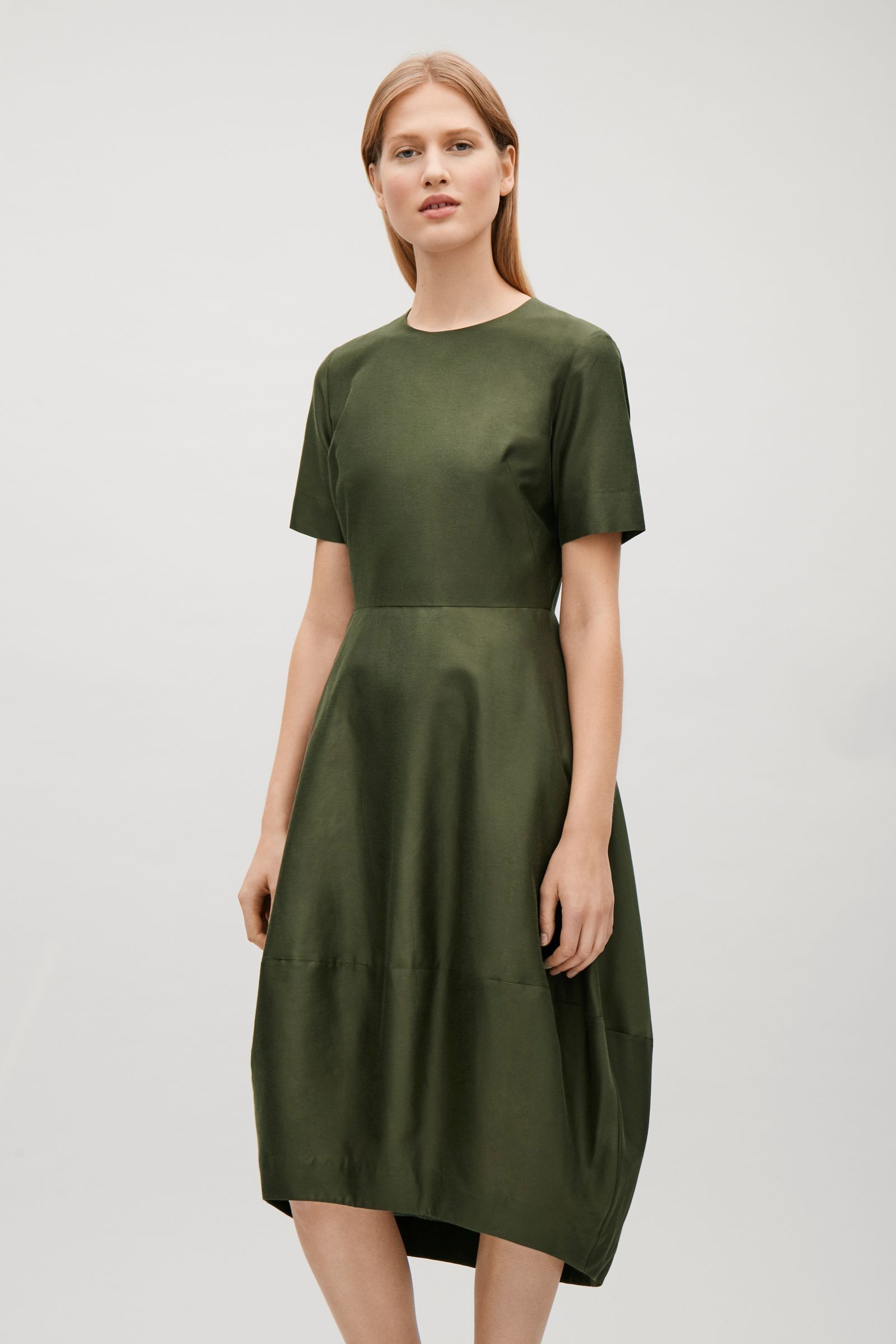 Cos green dress 2018  COS Dress with cocoon skirt in Olive Green  fits  Pinterest