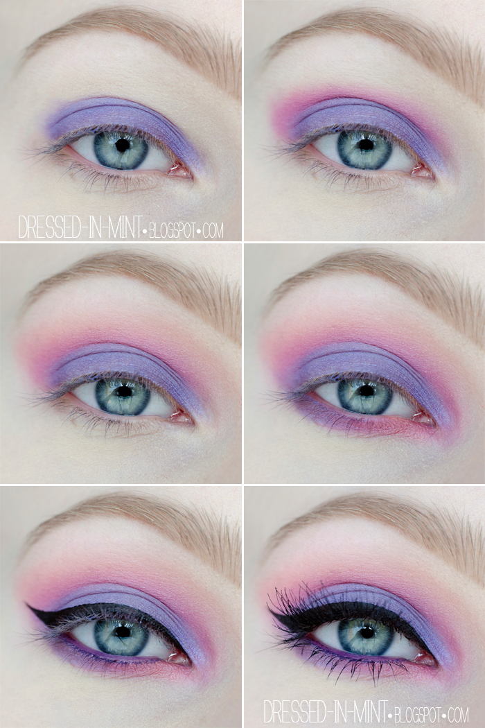 make up. Purple in Pink / step by step Maquillaje de