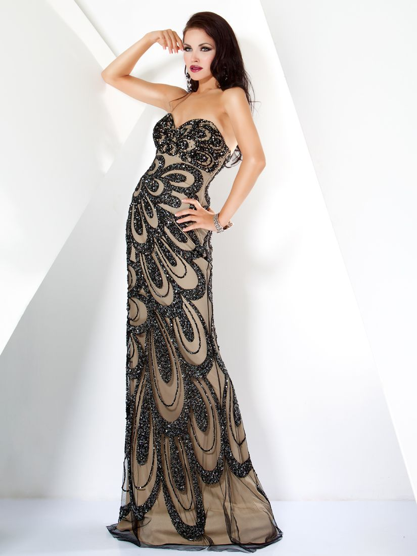 Strapless long beige & dark gray evening dress with beaded illusion ...