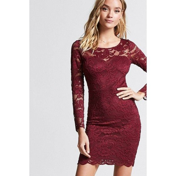 79fa4c4b0854 Forever21 Floral Lace Bodycon Dress ($14) ❤ liked on Polyvore featuring  dresses, burgundy, bodycon dress, long sleeve bodycon dress, long-sleeve  floral ...