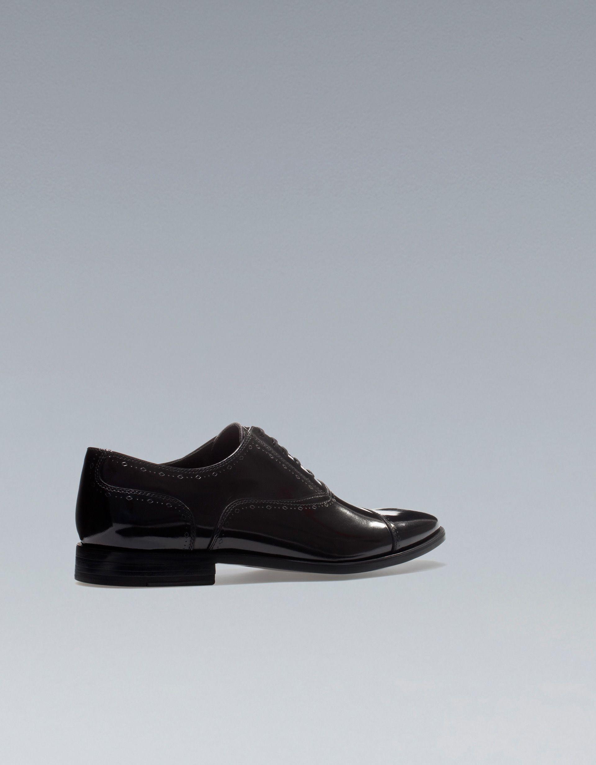5/5 Zara Black Antik Leather Oxford Shoe with Detailing