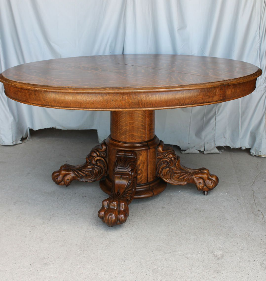Antique Round Oak Dining Table Large Carved Claw Feet With Original Leaves Ebay Antique Dining Tables Dining Table Oak Dining Table