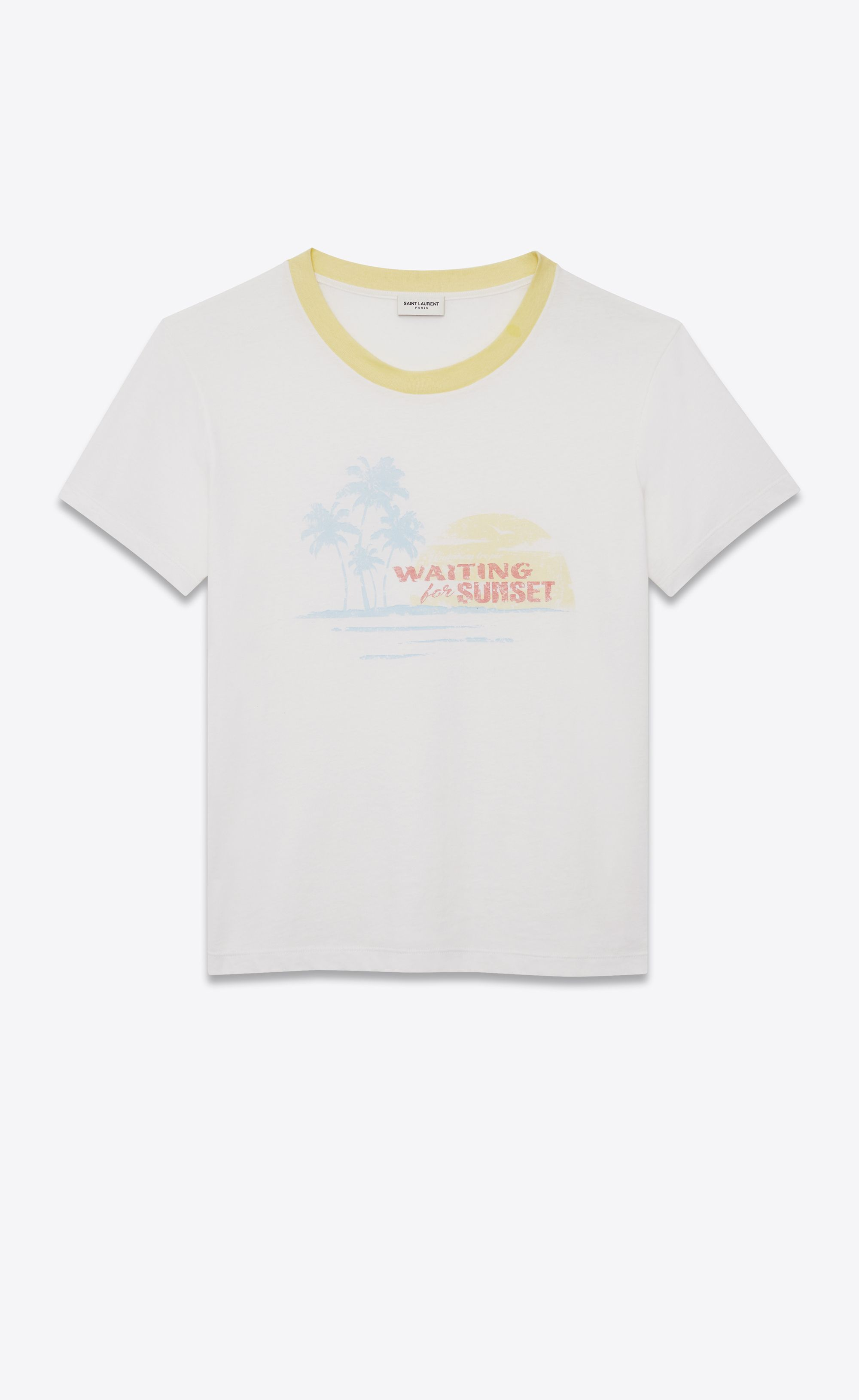 cae44d6eb0 Saint Laurent - T-shirt with waiting for sunset print in off-white ...