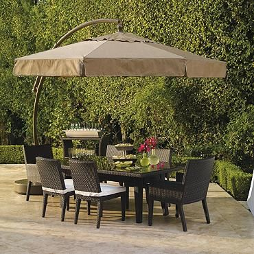 11 1 2 European Side Mount Umbrella With Valance Frontgate Patio Patio Umbrellas Outdoor Decor