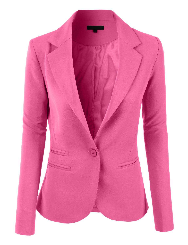 653dfa28e19 LE3NO Womens Slim Fit Single Button Tailored Boyfriend Blazer Suit Jac