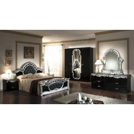 Rococo   Italian Classic Black Silver Bedroom Set