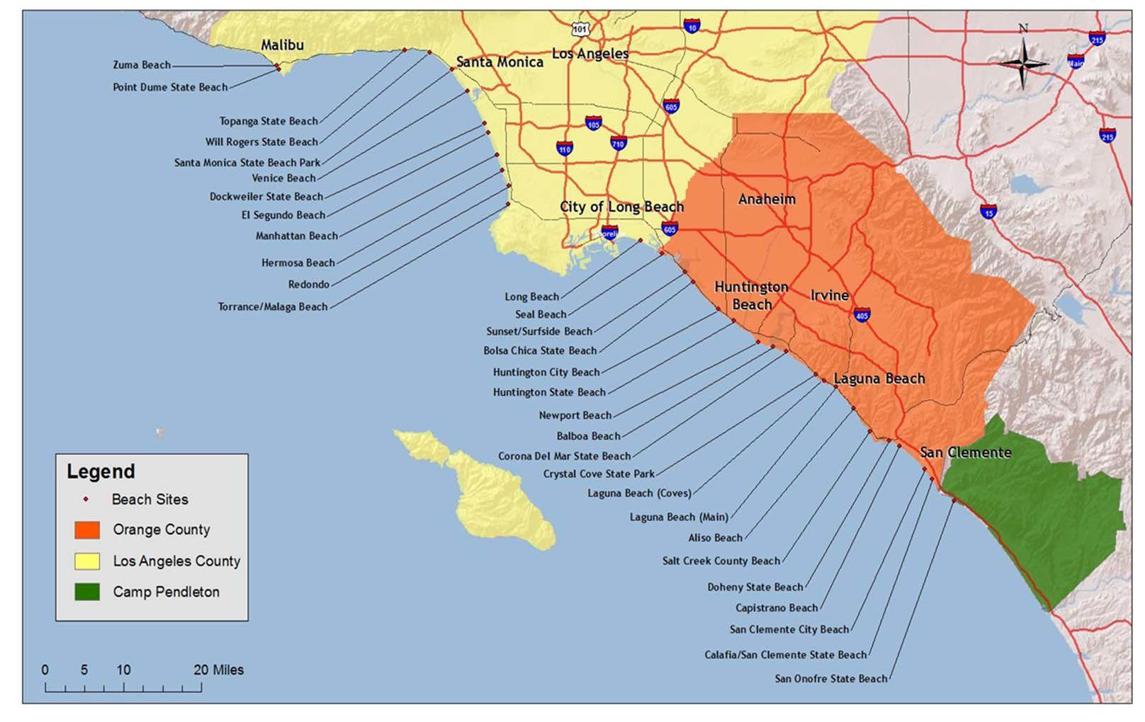 Map Of Southern California Coastal Towns.Map Of Southern California Beaches With Images Southern