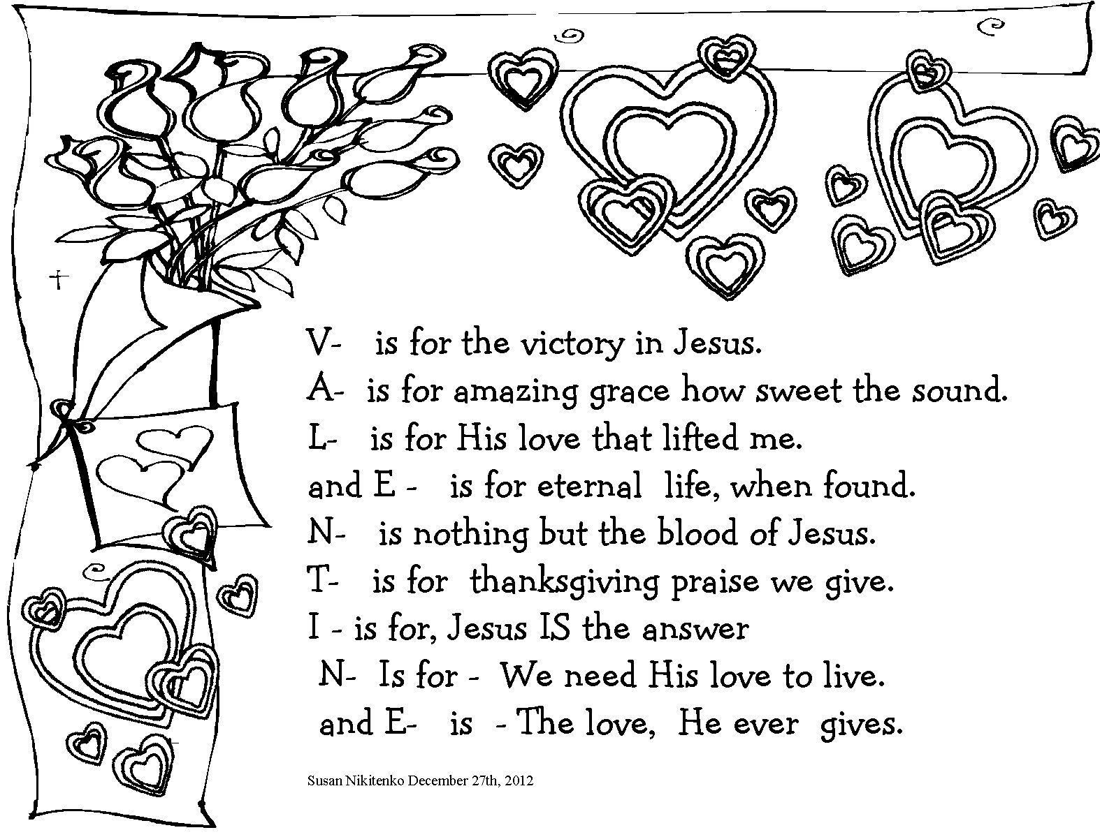 coloring poem Bible Coloring Pages Valentines day