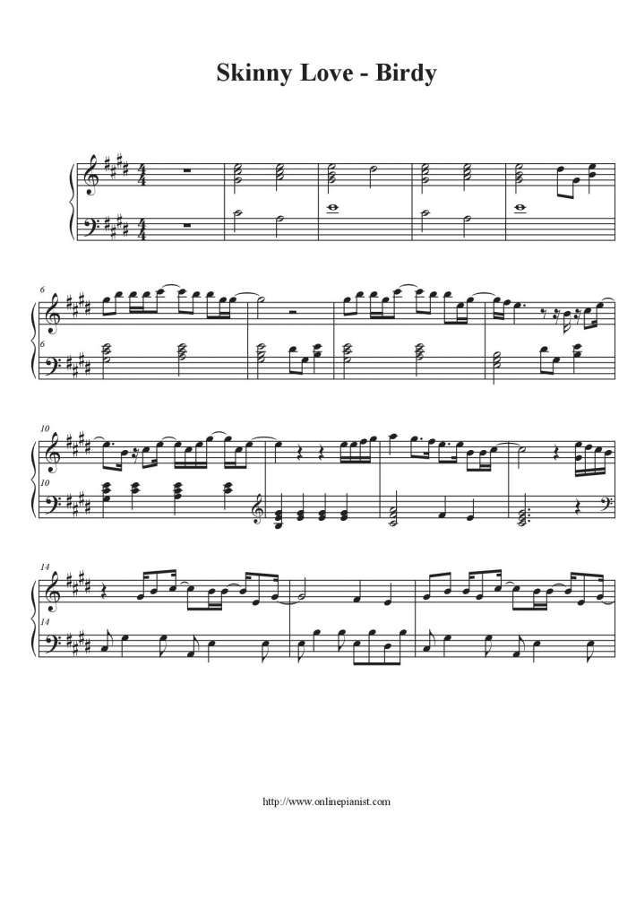 Skinny Love Bon Iver Piano Sheet Music By Birdy At Onlinepianist
