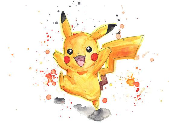 Pokemon Pokemongo Pikachu Original Artwork Watercolor Painting