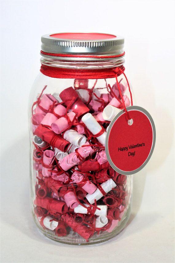 180 Message Filled 32oz Mason Jar Sweetheart By Themasonjarinc Boyfriend Notes Birthday Message For Boyfriend Jar Gifts