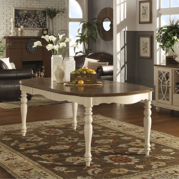 TRIBECCA HOME Shayne Country Antique Two-tone White Extending ...