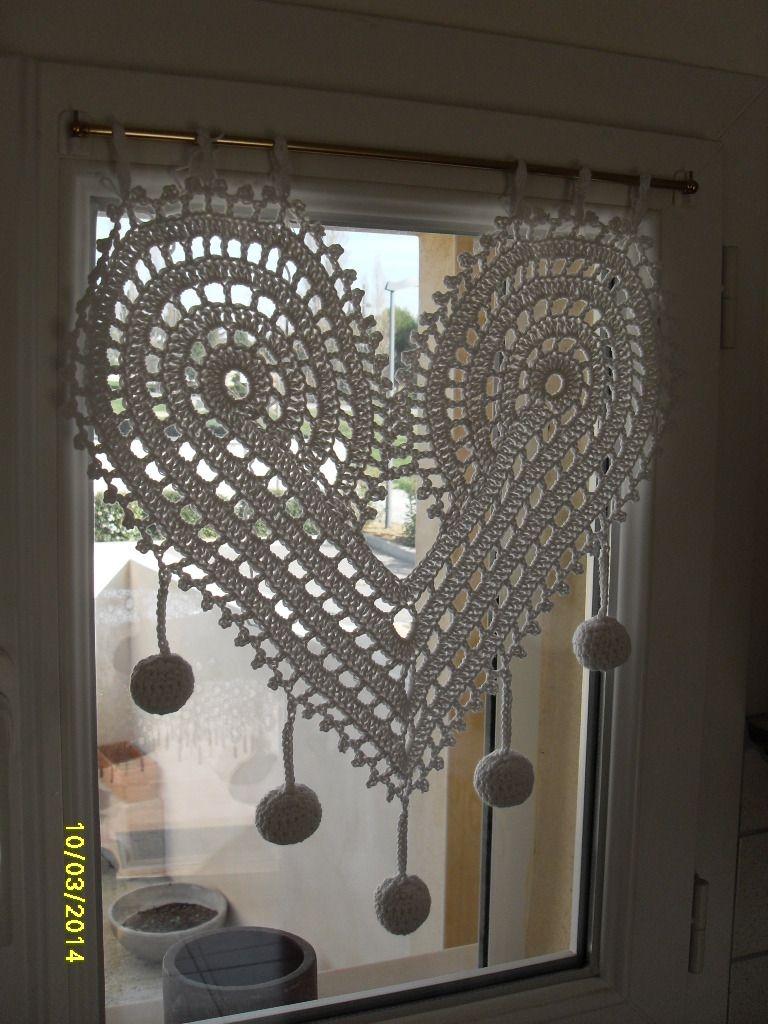 Rideau en forme de coeur au crochet fait main | Crochet