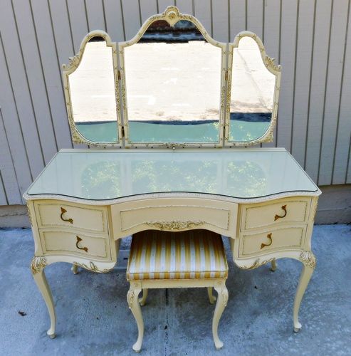 vintage french provincial style tri mirror vanity seat