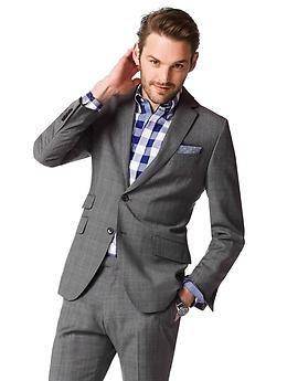 66a3891e857c Modern Slim-Fit Grey Plaid Wool Suit Jacket