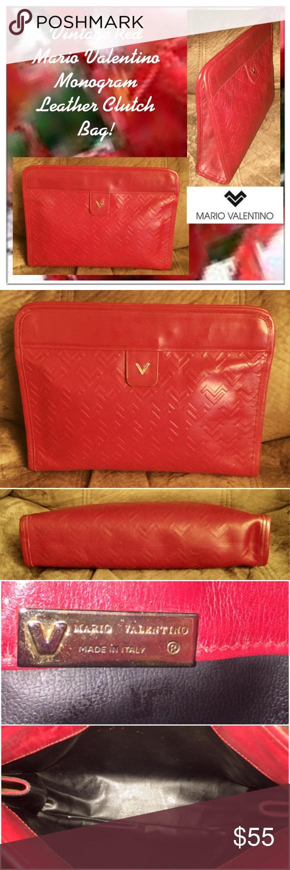 Vtg Red Valentino Monogram Leather Clutch Bag Leather Clutch Bags Monogrammed Leather Vintage Bags