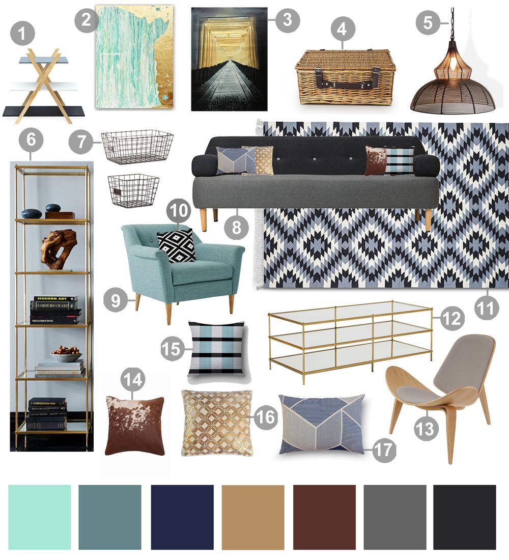 Blue Grey Mood Board For Living Room Inspiration Decor Coffee
