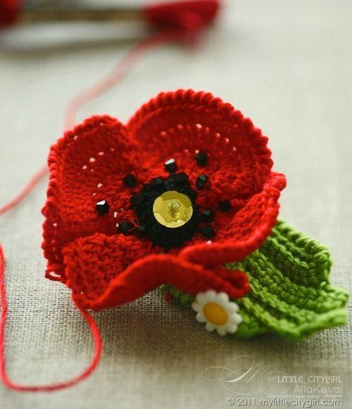My Little CityGirl | Crochet poppy pattern, Crochet poppy ...