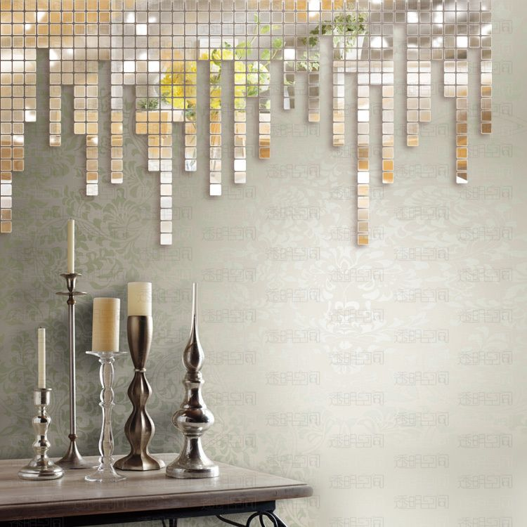 Bathroom Mirror Adhesive free shipping crystal reflective mirror like decorative wall
