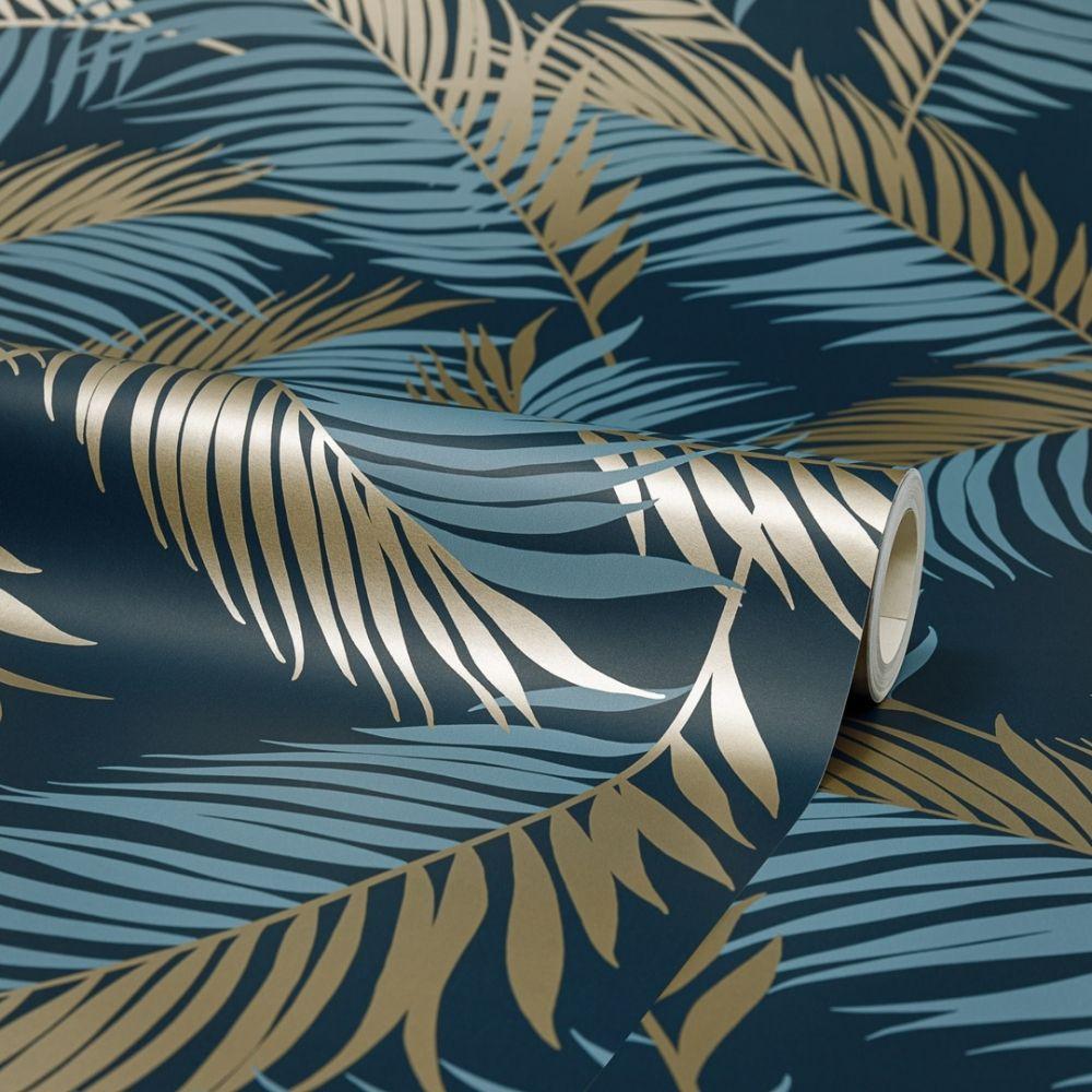 Vivienne Leaf Wallpaper Navy, Gold in 2020 Leaf