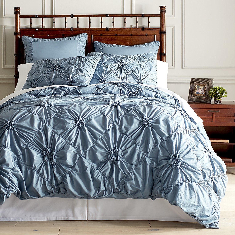 Savannah Duvet Cover & Sham Cadet Blue Cotton