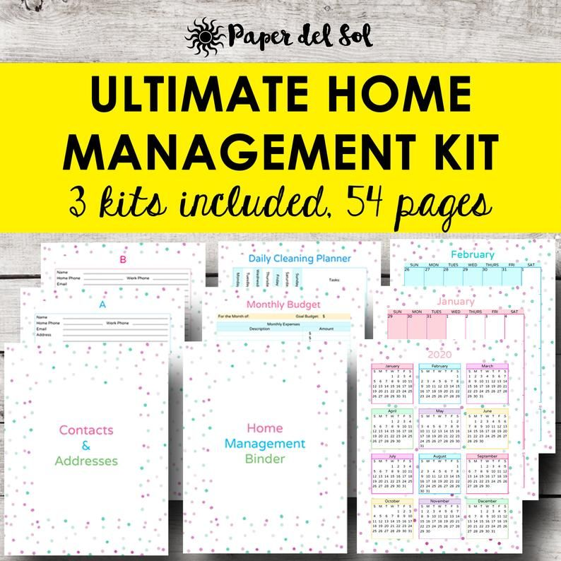Home Management Binder, Monthly Planner Printable, Monthly