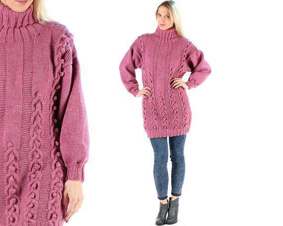 c3f97fdd7eb Turtleneck Wool Sweater 80s Oversized Hand Knit Sweater Dress Vintage  Longline Jumper Smoky Pink Bra