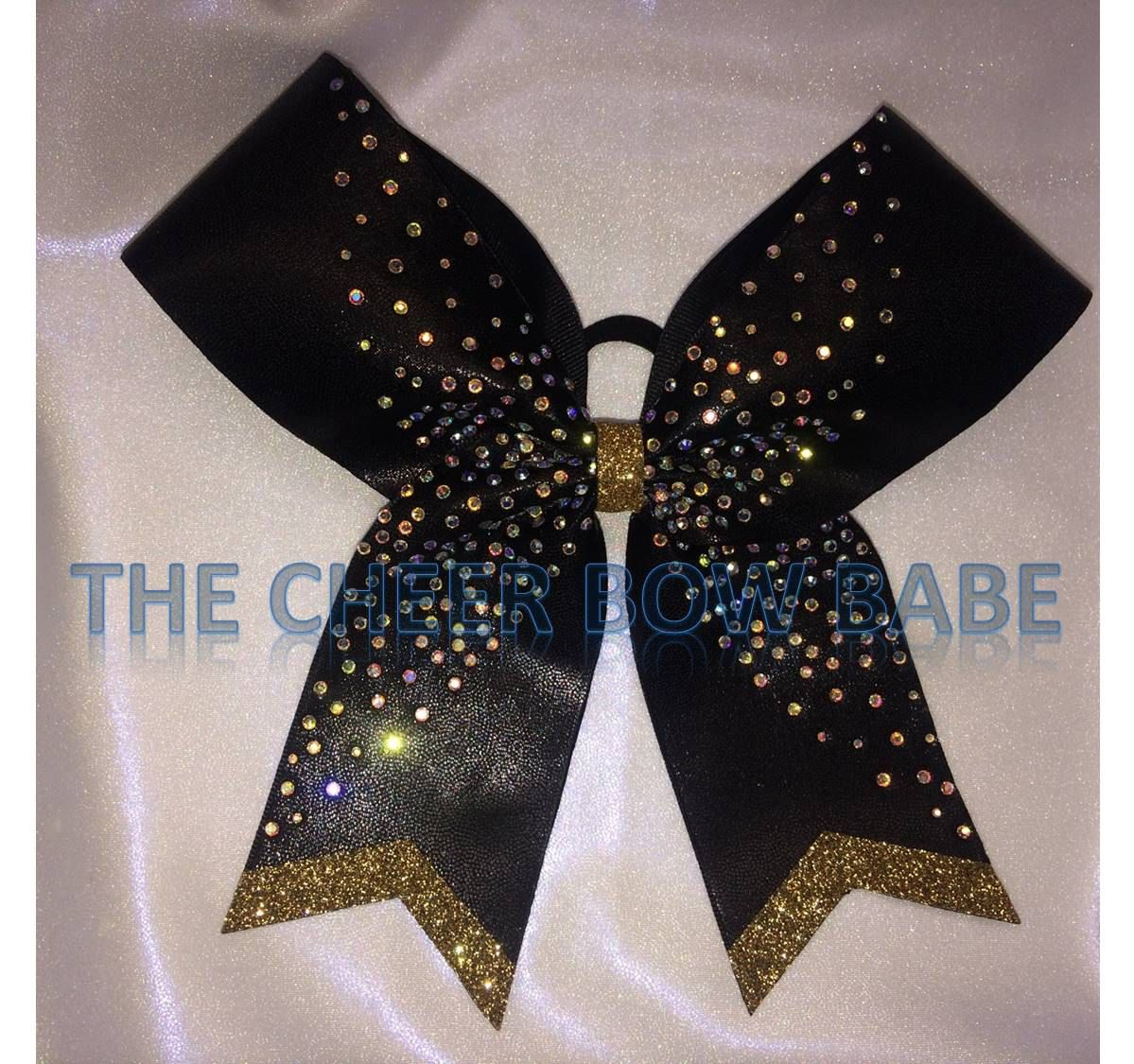 Black & Gold Competition Cheer Bow, Rhinestones, Little Sister M2M, Team, Competitive, Color Guard, Team Cheer Gifts, Cheerleader Gift by TheCheerBowBabe on Etsy