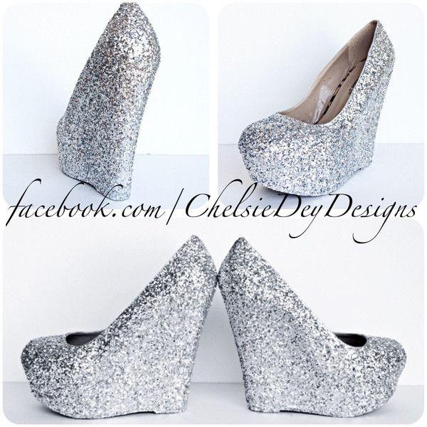 Silver Glitter Wedges Sparkly Platform