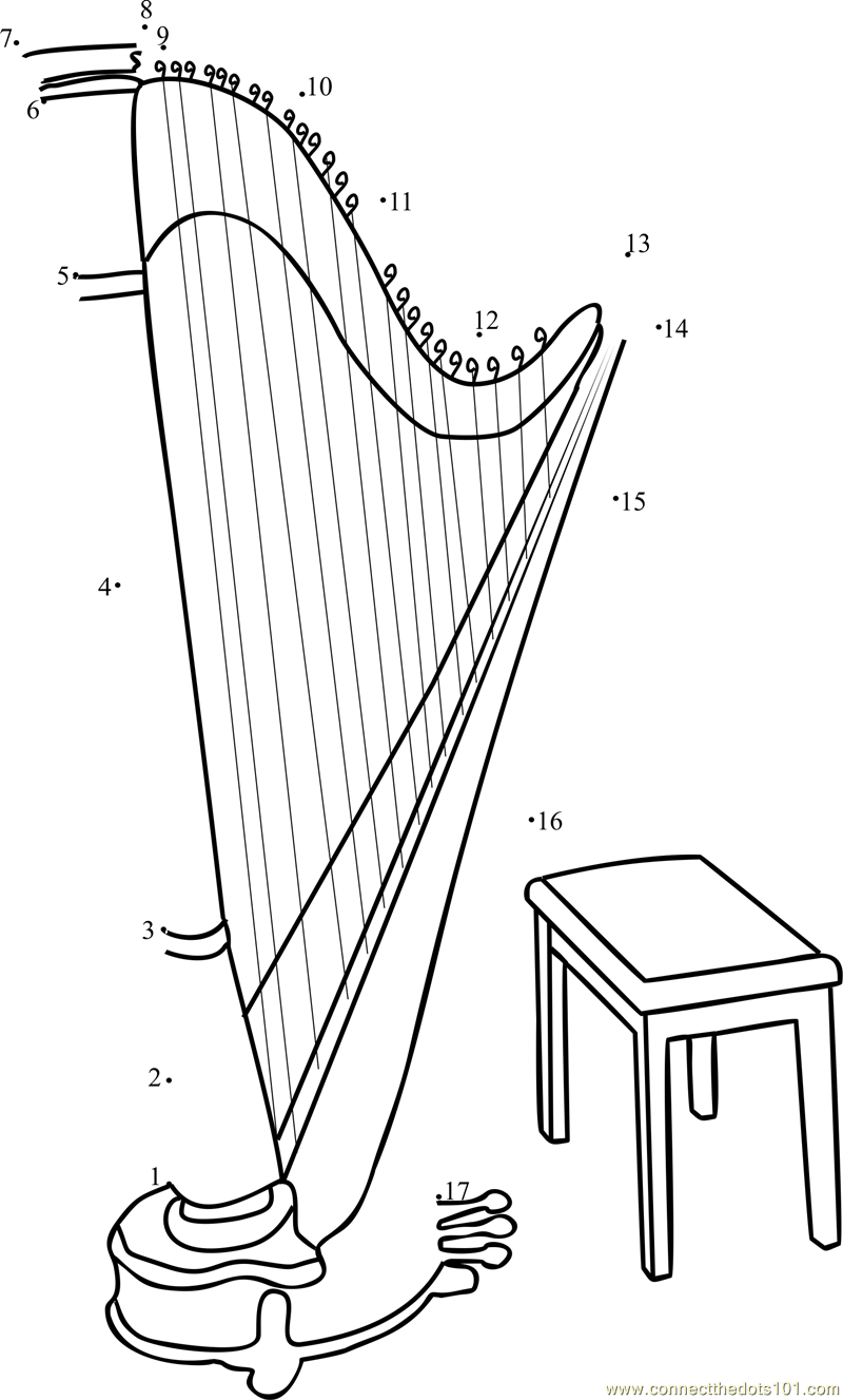 Connect The Dots Large Gothic Harp Musical Instruments Harp Dot To Dots For Kids Connect The Dots Music Worksheets Dots